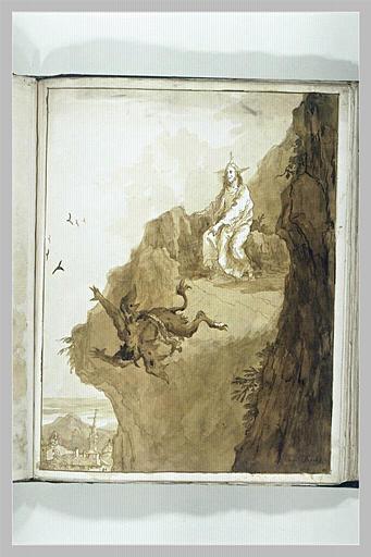 Satan élève Jésus au sommet d'une haute montagne