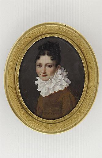 MUNERET Jean Désiré : Portrait de femme à la collerette