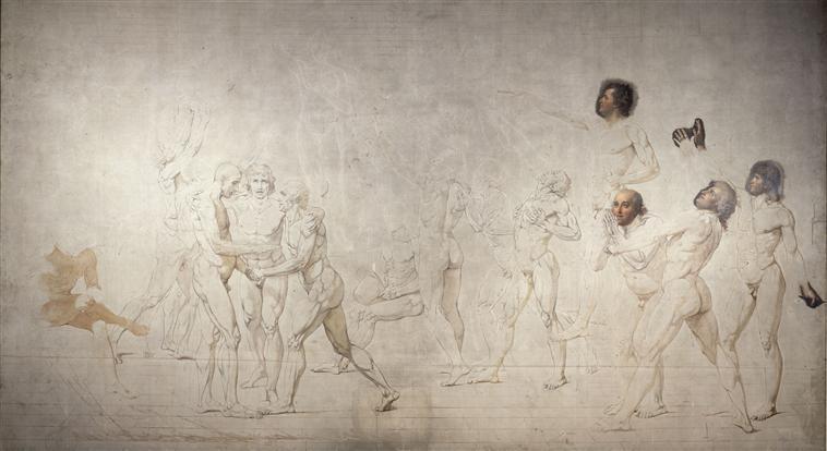 Le Serment du Jeu de Paume, avec légende ; Le Serment du Jeu de Paume à Versailles le 20 juin 1789, fond d'architecture de Charles Moreau (autre titre)