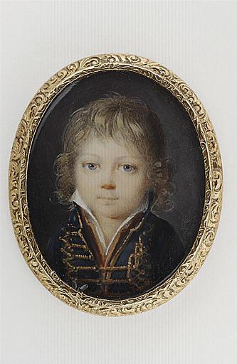 MUNERET Jean Désiré : Portrait d'un petit garçon en hussard