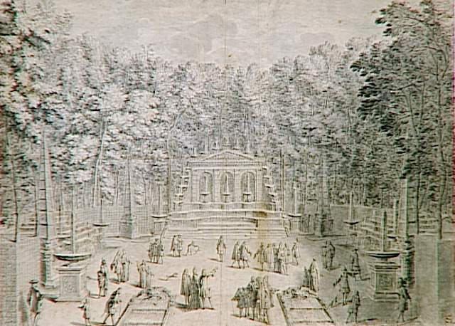 Bosquet de l'Arc de Triomphe dans le parc de Versailles ; Vue du bosquet de l'Arc de Triomphe dans les jardins de Versailles en 1714 (autre titre)