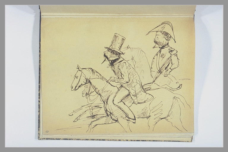 Cavalier civil et général à cheval galopant vers la gauche_0