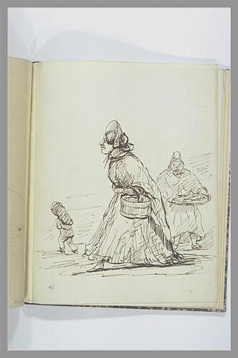 VERNET Carle : Femme en chapeau cabriolet et deux autres figures