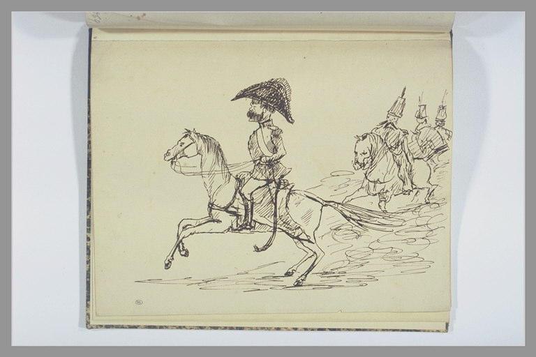 VERNET Carle : Général, caracolant sur un petit cheval, suivi de cavaliers