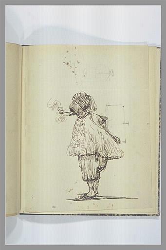 VERNET Carle : Zouave debout, de profil à gauche, fumant une pipe