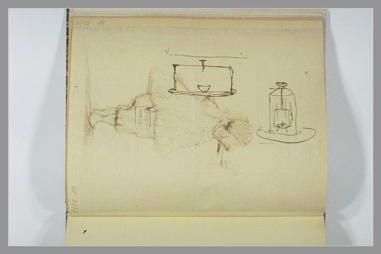 Croquis d'une caisse et d'une lanterne