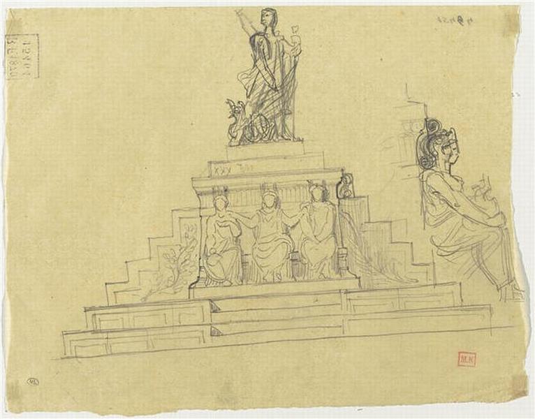 PROJET POUR LE MONUMENT A LAMARTINE (ELEVATION PRINCIPALE ET DETAIL DE PROFIL D'UNE FIGURE)_0