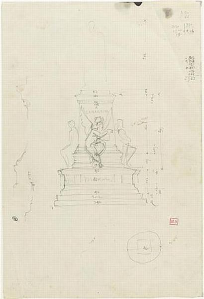 PROJET POUR UN MONUMENT A LAMARTINE (ESQUISSE DU SOUBASSEMENT)