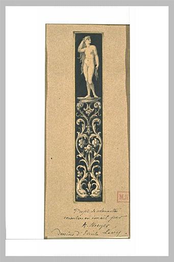 Femme nue, debout, portant la main droite à sa chevelure, sur un socle