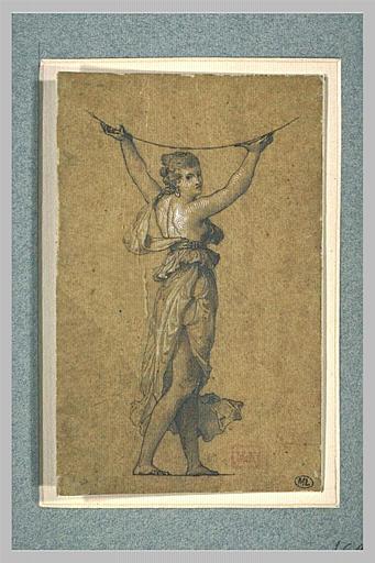 Femme vêtue à l'antique, debout, les bras levés, soutenant une sphère