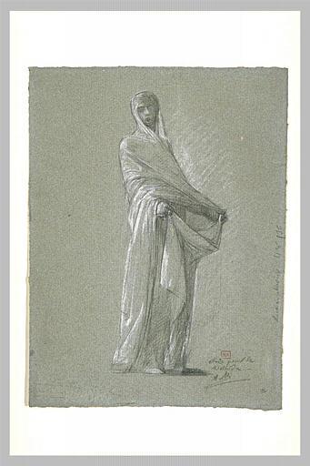 Femme drapée à l'antique, relevant sa jupe