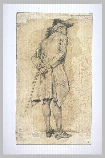 Homme, en costume époque Louis XV, coiffé d'un tricorne, penché