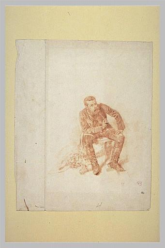 Portrait de Meissonier, assis, en costume de peintre aux Armées