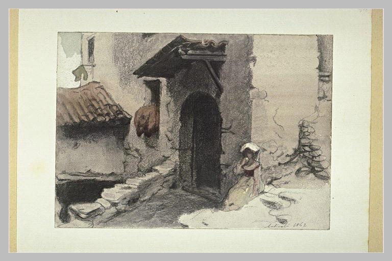 Une petite italienne, assise à la porte d'une maison, mangeant un fruit