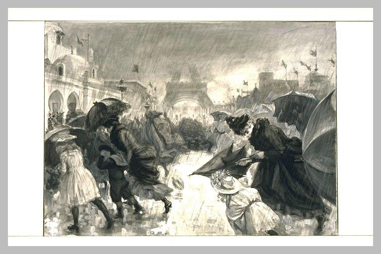 Visiteurs à l'exposition universelle de 1900 sous une pluie torrentielle_0