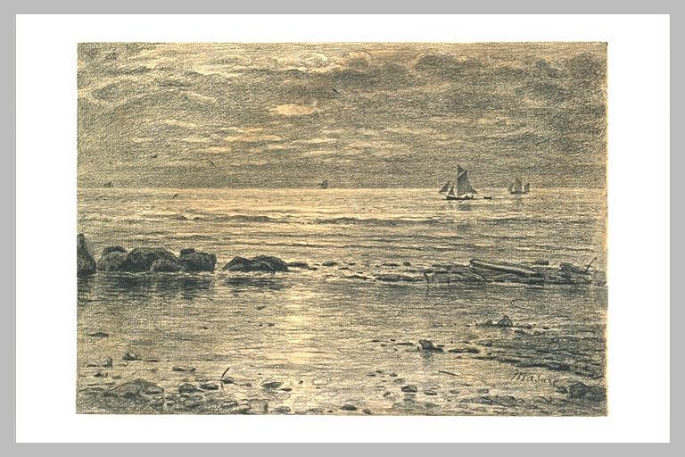 Mer avec quelques rochers et des bateaux au large