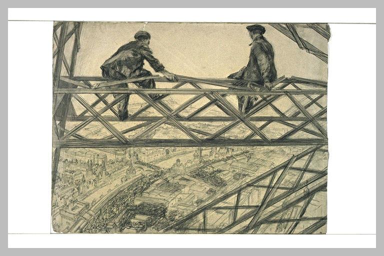 Deux ouvriers assis sur une ferme de la Tour Eiffel_0