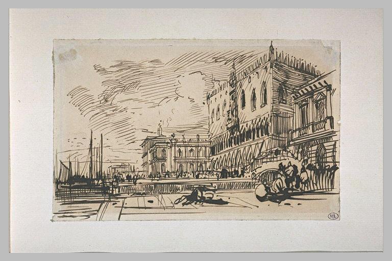 Vue de Venise avec le quai des Esclavons, le Palais des Doges, la Piazzetta_0