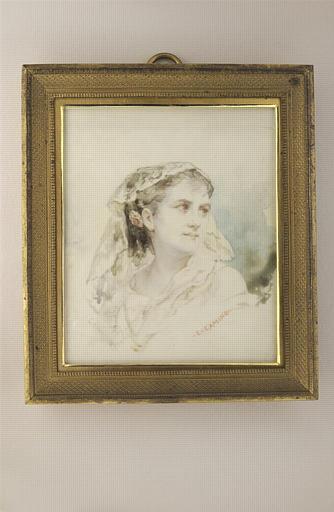 CAMINO Charles : Portrait de jeune femme blonde, en buste, la tête couverte d'une mantille