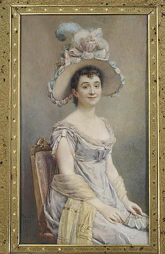 Femme assise sur une chaise, tenant un éventail sur ses genoux