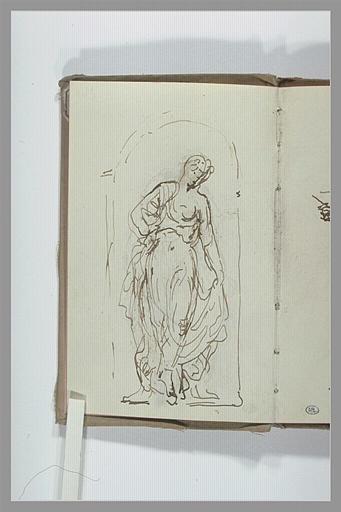 CHAPU Henri Michel Antoine : Croquis d'une figure drapée dans une niche