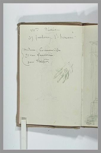 CHAPU Henri Michel Antoine : Main gantée, et annotations manuscrites