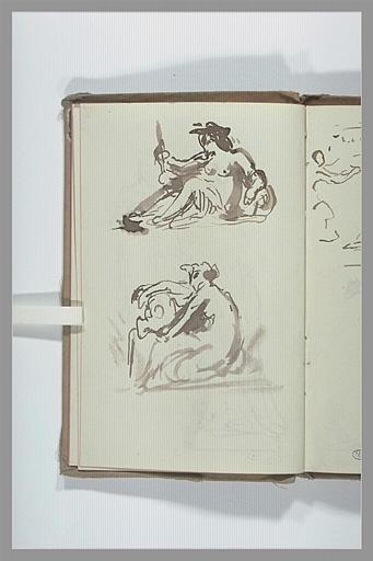 CHAPU Henri Michel Antoine : Deux croquis de figures féminines assises