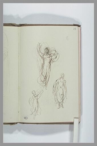 CHAPU Henri Michel Antoine : Croquis de figures drapées, dansant
