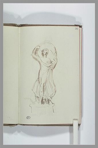Figure drapée, dansant avec un voile_0