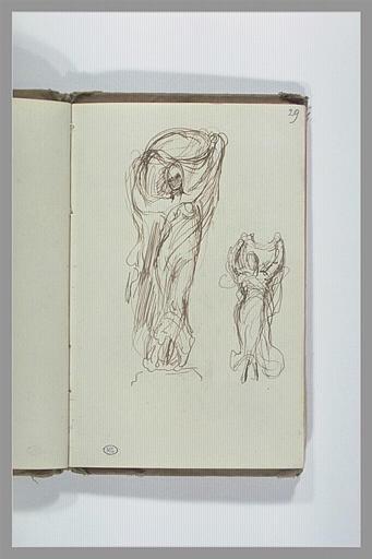 CHAPU Henri Michel Antoine : Etude de figure dansant avec un voile