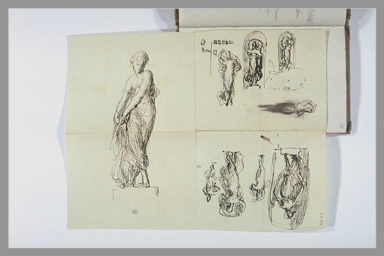 Diverses études de femme drapée, pour une statue dans une niche