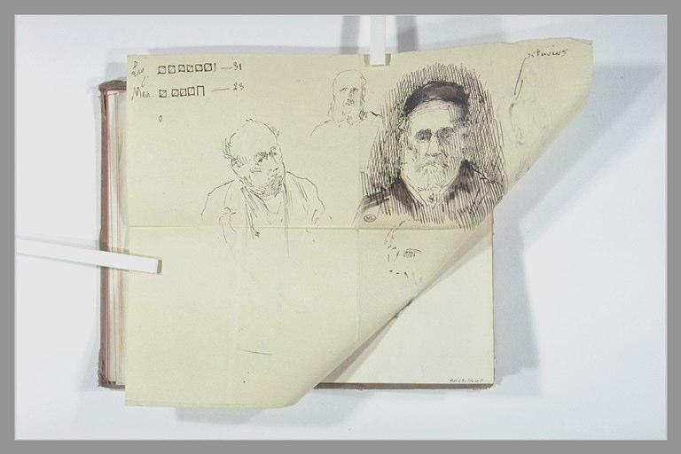 Trois portraits d'un personnage barbu