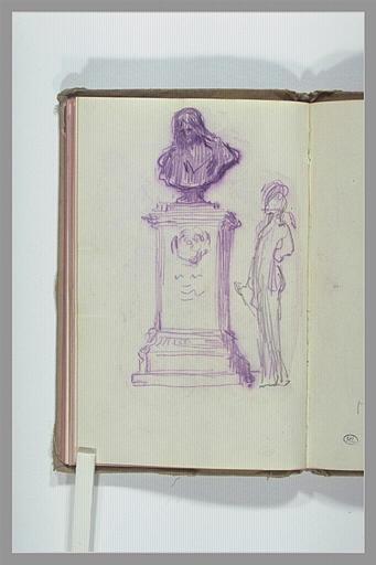 CHAPU Henri Michel Antoine : Croquis d'une figure, et buste sur piédestal