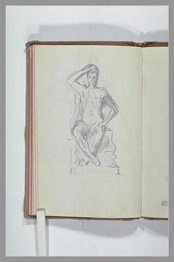 CHAPU Henri Michel Antoine : Figure assise sur un socle