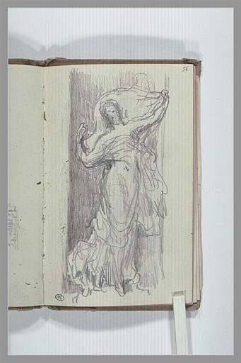 Figure drapée, avec un voile, pour une statue dans une niche