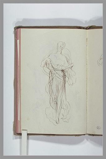CHAPU Henri Michel Antoine : Figure drapée, portant des fleurs
