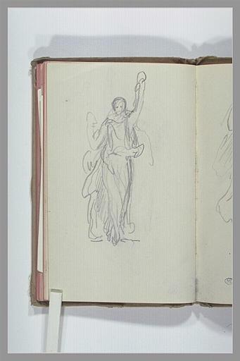 CHAPU Henri Michel Antoine : Figure drapée, levant le bras