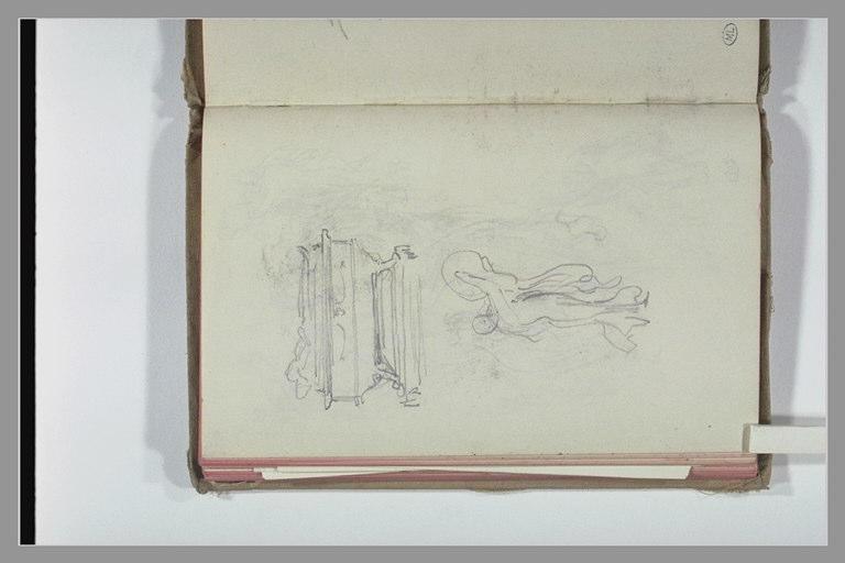 CHAPU Henri Michel Antoine : Croquis d'une figure drapée, et étude de tombeau