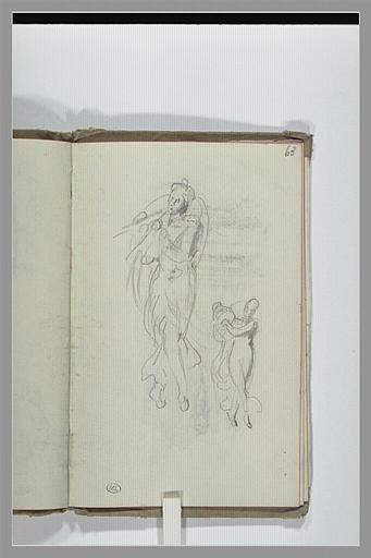 CHAPU Henri Michel Antoine : Croquis de figures drapées, jouant de la musique