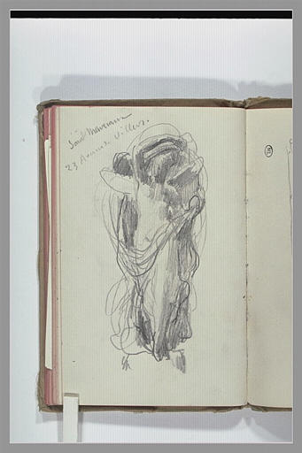 CHAPU Henri Michel Antoine : Croquis d'une figure drapée, ailée