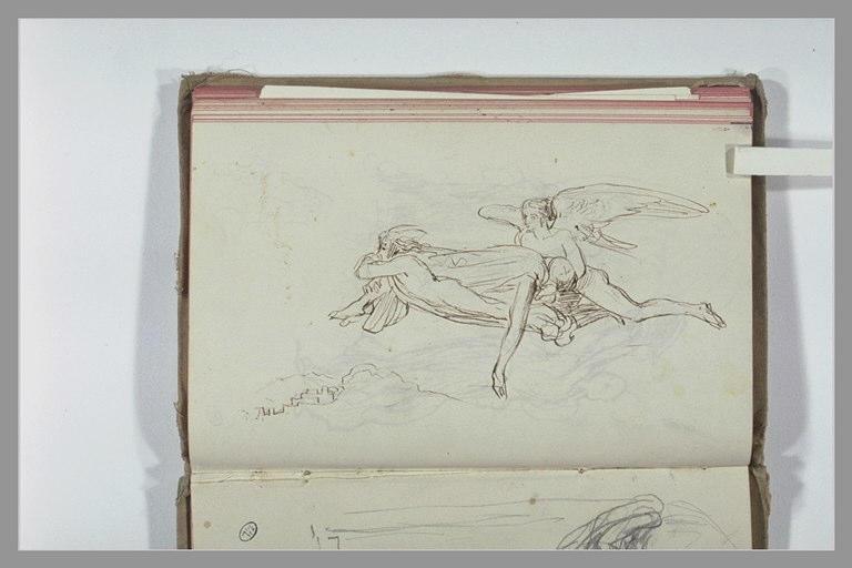 Deux figures ailées portant un personnage dans les airs