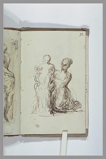 CHAPU Henri Michel Antoine : Femme agenouillée tenant un enfant dans ses bras