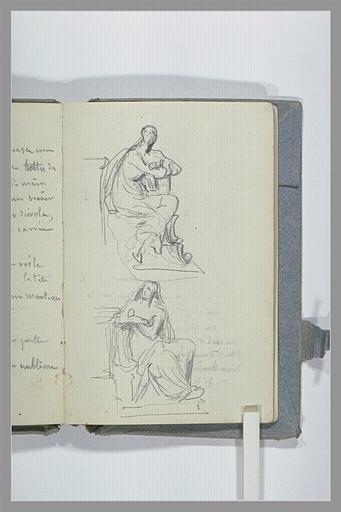 CHAPU Henri Michel Antoine : Deux études d'une figure assise, de profil, les bras croisés