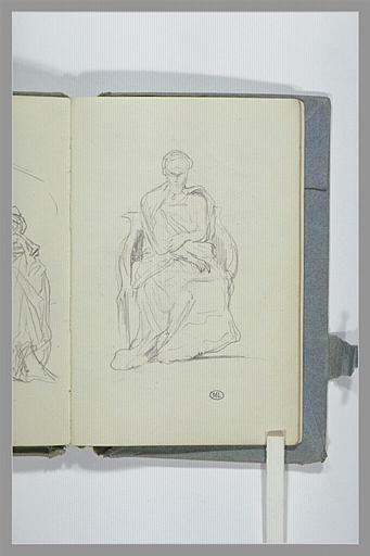 CHAPU Henri Michel Antoine : Personnage sculpté, assis, de face