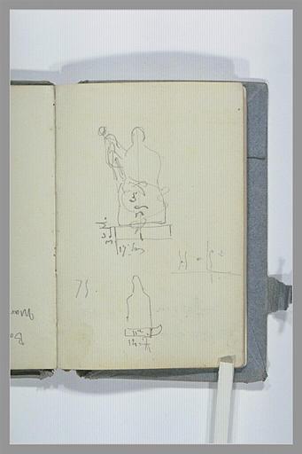CHAPU Henri Michel Antoine : Esquisses avec relevé de dimensions