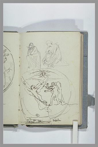 CHAPU Henri Michel Antoine : Dédale représenté dans un médaillon, et deux esquisses d'une figure assise
