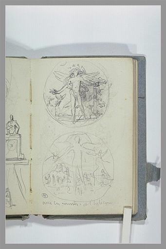 CHAPU Henri Michel Antoine : Deux médaillons, avec une figure ailée