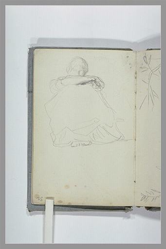 CHAPU Henri Michel Antoine : Une figure assise au sol, de face, jambes repliées