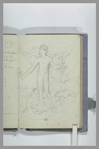CHAPU Henri Michel Antoine : Médaillon, avec une figure ailée
