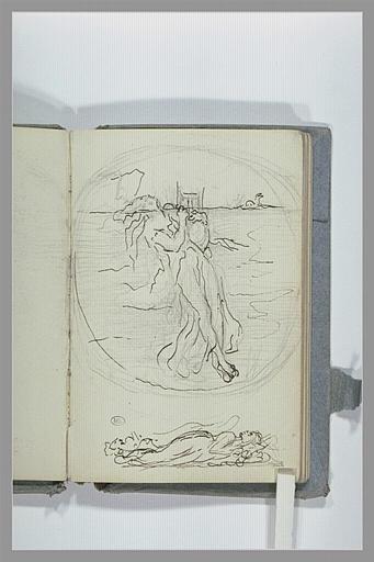 CHAPU Henri Michel Antoine : Médaillon, avec une figure dans l'eau, et croquis d'une femme couchée